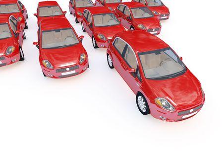3d illustration of modern red cars on white plane Stock Illustration - 4799577