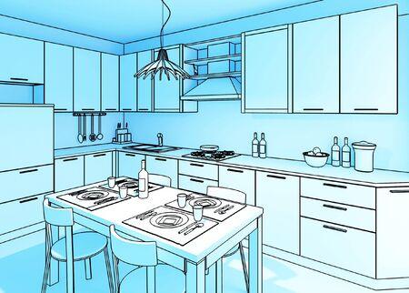 fine 3d illustration of modern kitchen background Stock Illustration - 4835009
