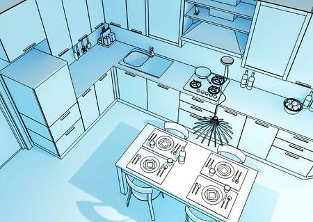 fine 3d illustration of modern kitchen background Reklamní fotografie