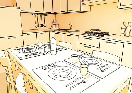 fine 3d illustration of modern kitchen background Stock Illustration - 4835003
