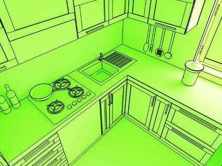 stove top: fine 3d illustration of modern kitchen background Stock Photo