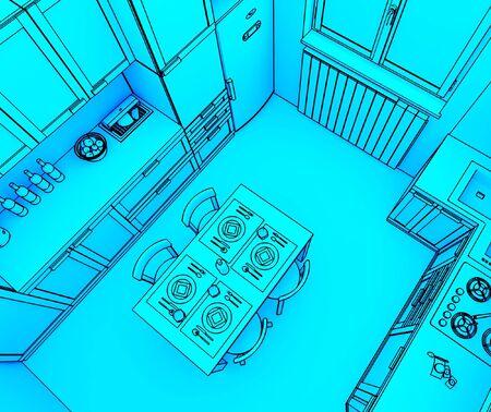 fine 3d illustration of modern kitchen background Stock Illustration - 4835005
