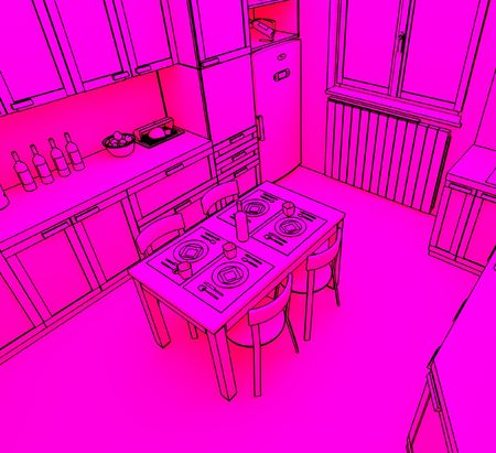 countertop: fine 3d illustration of modern kitchen background Stock Photo