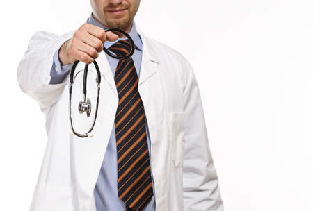 confident caucasian doctor show his stethoscope isolated on white Stock Photo - 4844748