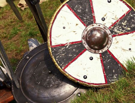 fine image of ancient shield medioeval background Stock Photo - 4880853