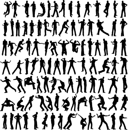 bend: 100 man vector different pose isolated on white