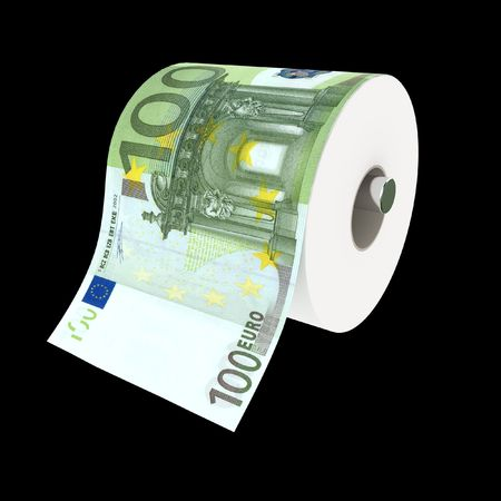fine 3d illustration of toilet paper make with euro