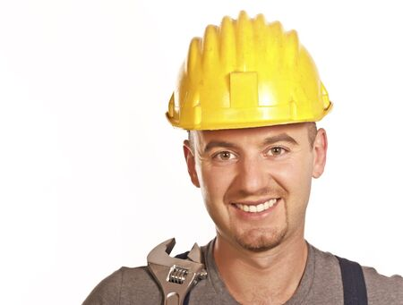 journeyman: fine portrait of caucasian smiling handyman isolated on white Stock Photo