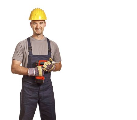 journeyman: fine portrait of young caucasian handyman isolated on white
