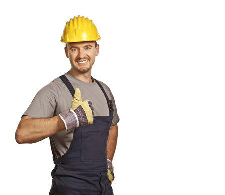 fine portrait of young caucasian handyman isolated on white Stock Photo - 5012315