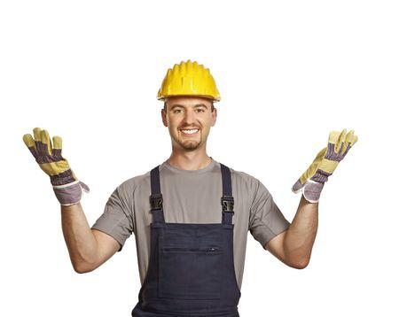 journeyman technician: fine portrait of young caucasian handyman isolated on white