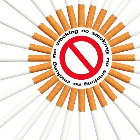 fine 3d illustration of no smoking signal background Stock Illustration - 5062593