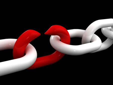 breakout: fine 3d image of white chain and weak red point Stock Photo