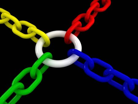 workteam: 3d metaphoric image of different chain join in the same point