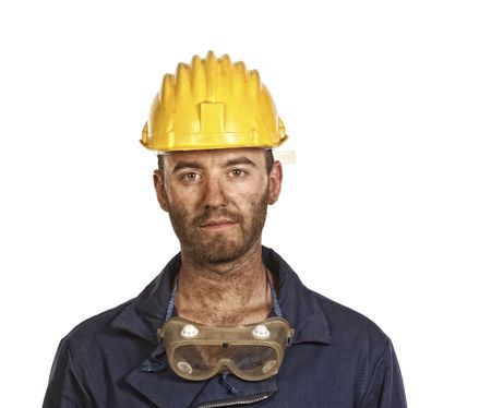 labourer: young caucasian labourer portrait isolated on white