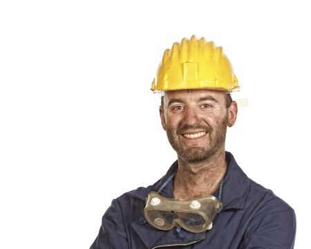 young caucasian labourer portrait isolated on white Stock Photo - 5087888