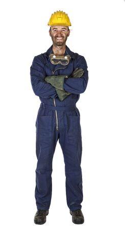 industrial mechanics: sonriente joven trabajador caucasian industria pesada trabajador manual