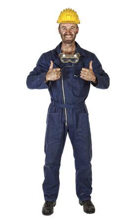 obrero: caucasian joven trabajador aislado retrato en blanco Foto de archivo