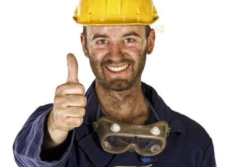 confident manual worker thumb up selective focus Stock Photo