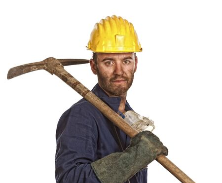young caucasian labourer tired from hard day work Stock Photo - 5093893