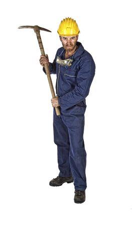 obrero: Retrato de joven trabajador del C�ucaso aisladas en blanco