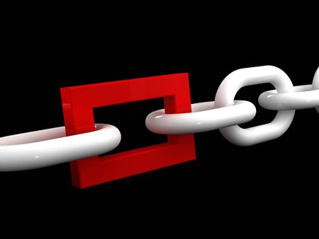 workteam: fine 3d image of white chain and different red ring