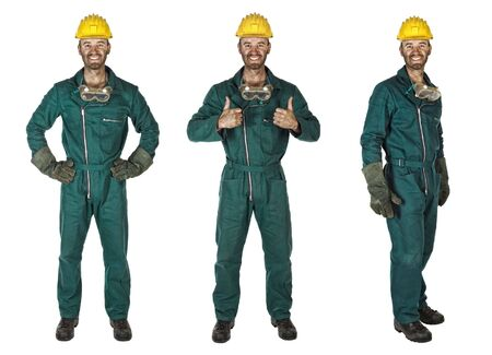 manual: smiling young caucasian labourer heavy industry manual worker Stock Photo