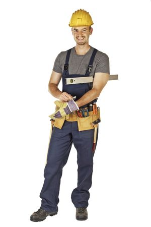 journeyman: caucasian young handyman wearing gloves isolated on white background
