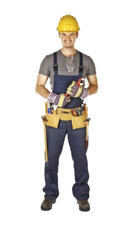 toolbelt: caucasian young handyman with classic toolbelt isolated on white