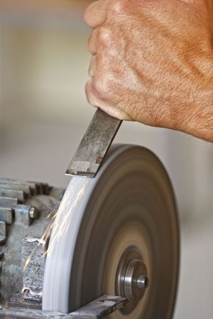 detail of classic industrial grindstone , make the tool sharp Stock Photo - 5177233