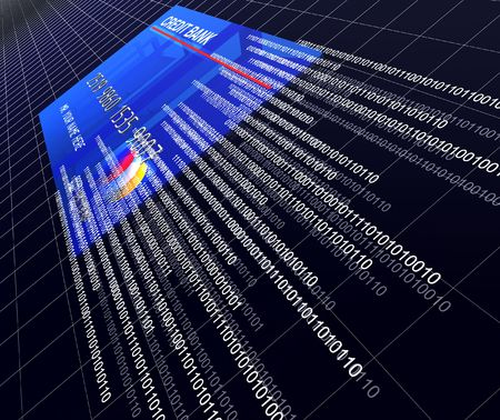 banking information: render 3d of classic credit card and binaty code, modern business Stock Photo