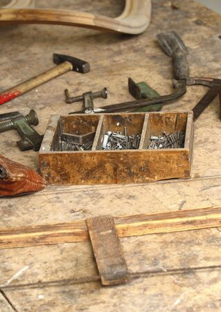 rasp: image of classic vintage old carpenter tools on work wood table