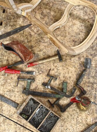 timbering: image of classic vintage old carpenter tools on work wood table