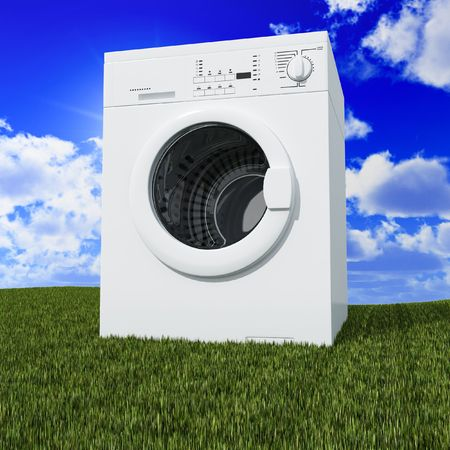 scrunch: fine 3d washing machine with blue cloudy sky and green grass