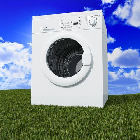 clothes washer: multa 3d lavadora azul con nubes y la hierba verde