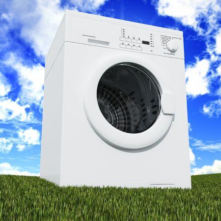 feine 3d Waschmaschine sonnig mit blauem Himmel und grünen Gras