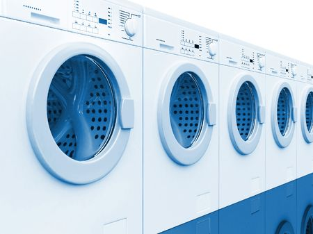 3d image of classic white washing machine background photo