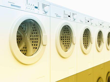 3d image of classic white washing machine background photo