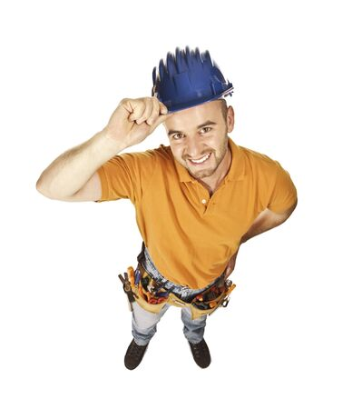 funny portrait of classic young caucasian handyman isolated on white Stock Photo - 5306603