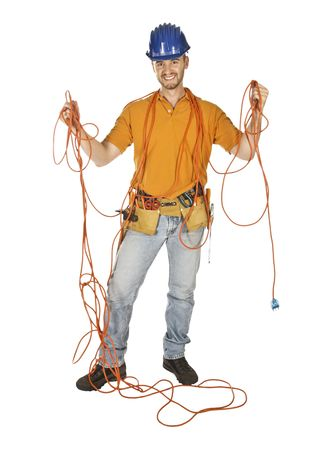 electrical contractor: handyman isolated on white try to find a solution