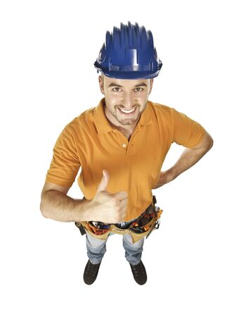 young constructor worker isolated on white view from above