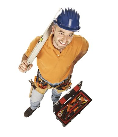 young constructor worker with spirit level and toolbox isolated on white Stock Photo - 5465657