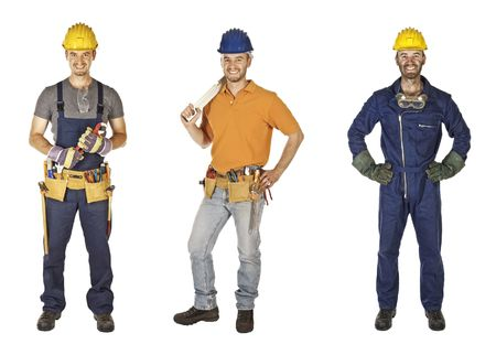 workman: caucasian young different manual worker collection isolated on white