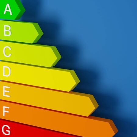 saver: 3d image of energy saver label fine background Stock Photo