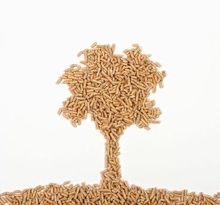 pellets: nice tree of wood pelle on white background