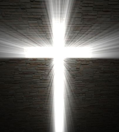religious holiday: fine image of Christian cross of light background