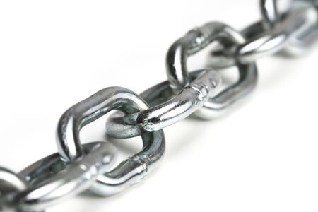 close up image of iron chain on white board Stock Photo - 5587164