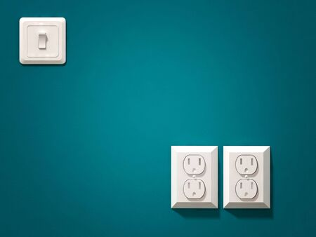 fine 3d image of white electric plug on blue green  wall Stock Photo - 5609102