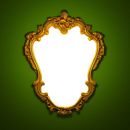 mirror frame: 3d image of classic aged golden frame with white custom space