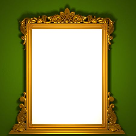 3d image of classic aged golden frame with white custom space photo